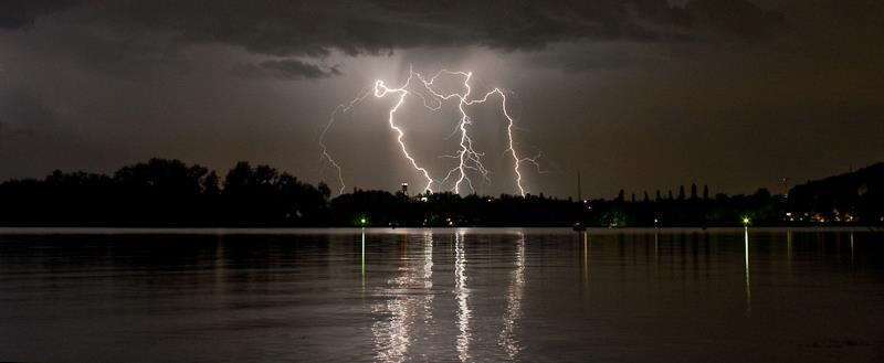 Electrical storm over Lake Constance